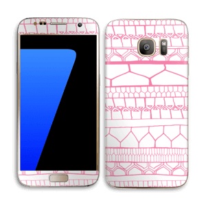 Motifs rose & blanc Skin Galaxy S7