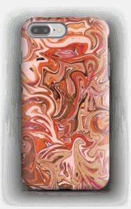 Vloeiend marmer oranje/paars hoesje IPhone 7 Plus tough
