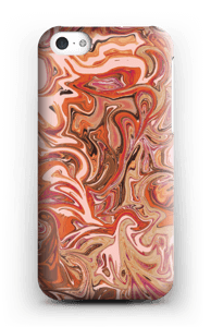 Flydende marmor i orange og lyserødt cover IPhone 5c