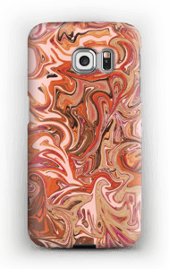 Flytande marmor i orange & rosa skal Galaxy S6 Edge