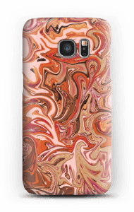 Flüssiges Marmor in Orange und Rosa Handyhülle Galaxy S7
