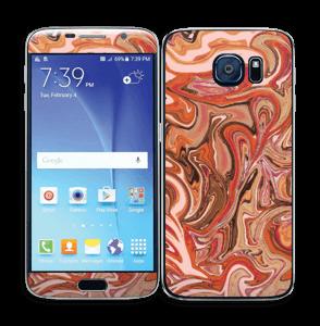 Orange og lyserød marmor Skin Galaxy S6