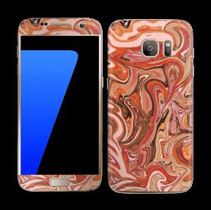 Orange og lyserød marmor Skin Galaxy S7
