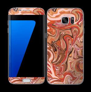 Orange og lyserød marmor Skin Galaxy S7 Edge