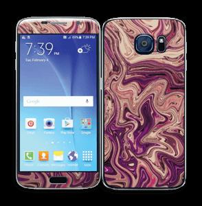 Flydende marmor i lilla Skin Galaxy S6