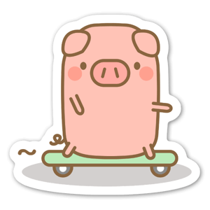 Skateboard Piggy  sticker