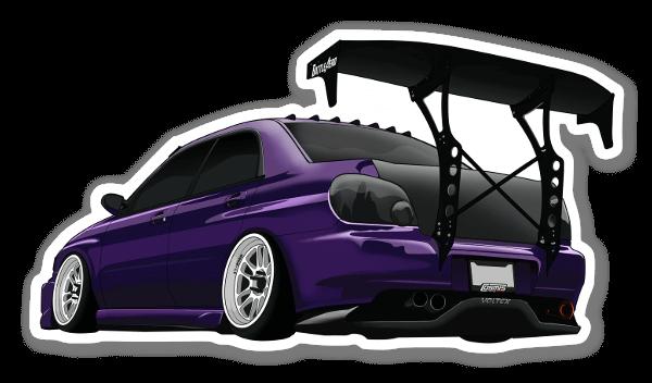 Paarse Subaru sticker