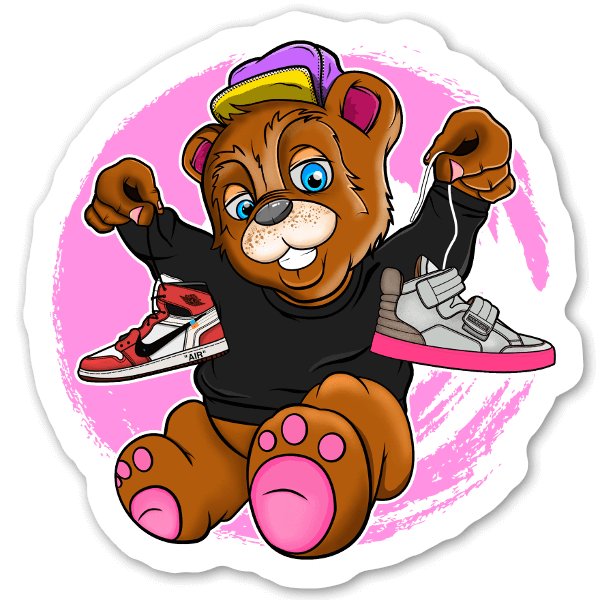 Björn med sneakers sticker
