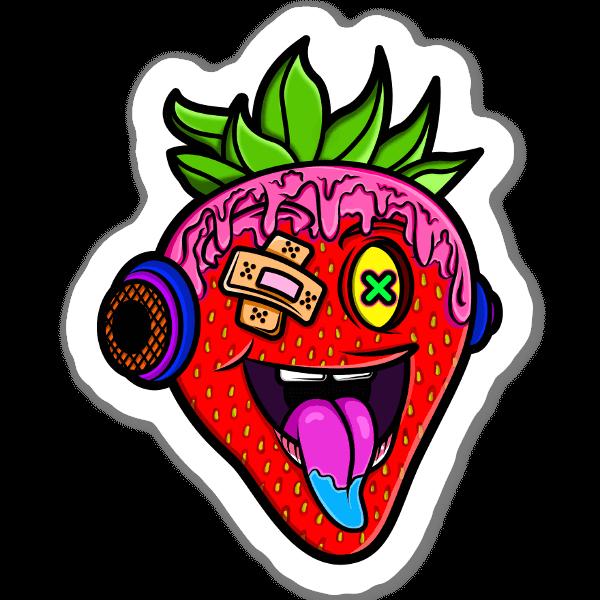 Verrückte Erdbeere sticker