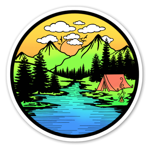 Camping à la montagne sticker