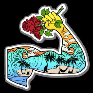 Muscle beach sticker