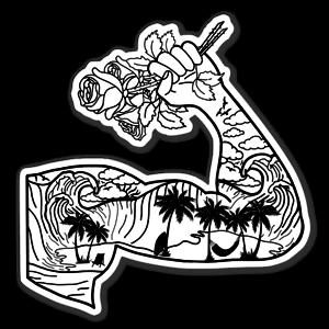 B&W muscle beach  sticker