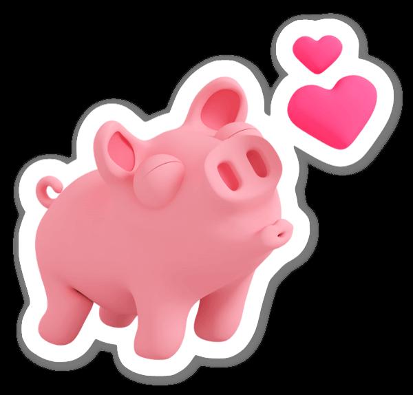 Rosa cochon amour sticker