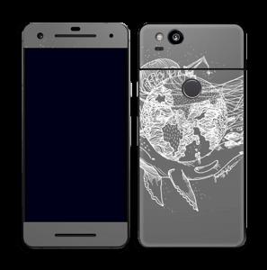 Flygande Jord i grått Skin Pixel 2