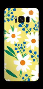 Valkoiset kukat tarrakuori Galaxy S8