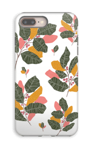 Leaves in pink case IPhone 8 Plus tough