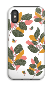 Leaves in pink case IPhone X tough