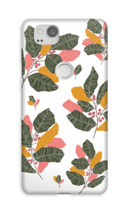 Leaves in pink case Pixel 2