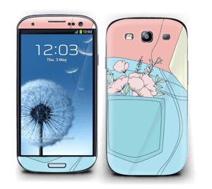 Floral Jeans Skin Galaxy S3