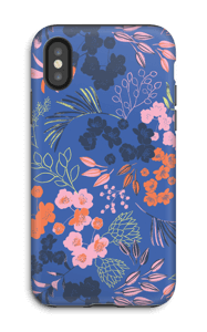 Blue flower bouquet case IPhone X tough