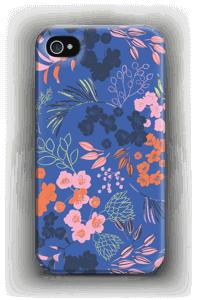 Blommor på blått skal IPhone 4/4s