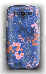 Blommor på blått skal Galaxy S3