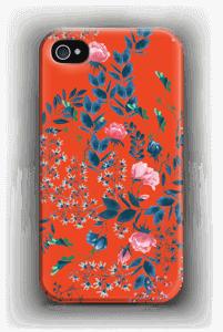 Blommor på rött skal IPhone 4/4s