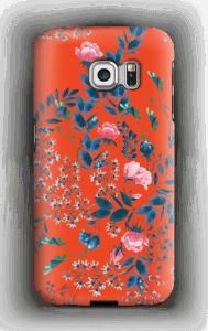 Blommor på rött skal Galaxy S6 Edge