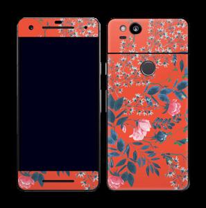 Blommor på rött Skin Pixel 2