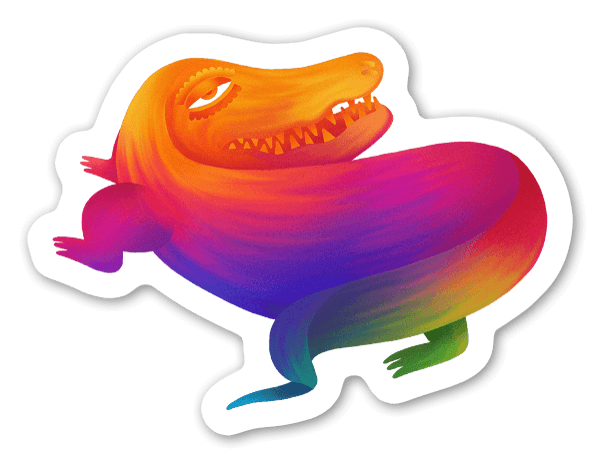 The contemplating crocodile sticker