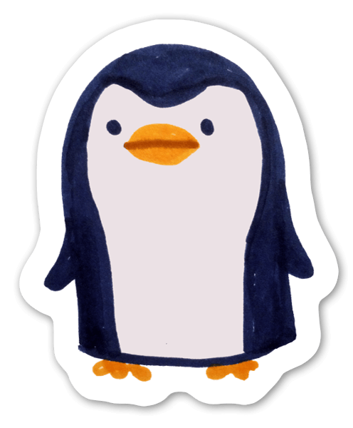 Søt pingvin sticker