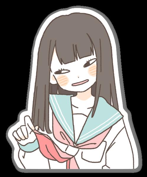 Ruskeatukkainen tyttö tarra