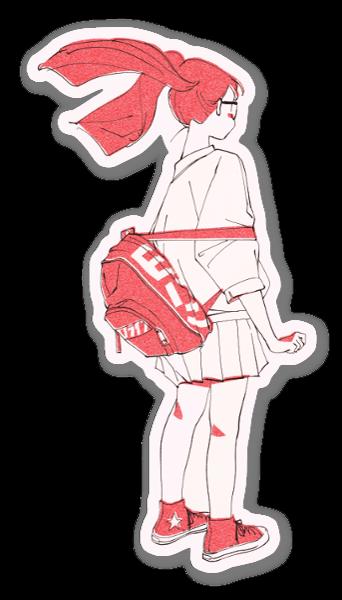Punainen reppu tarra