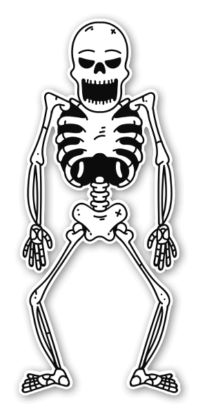 Skeleton screaming sticker