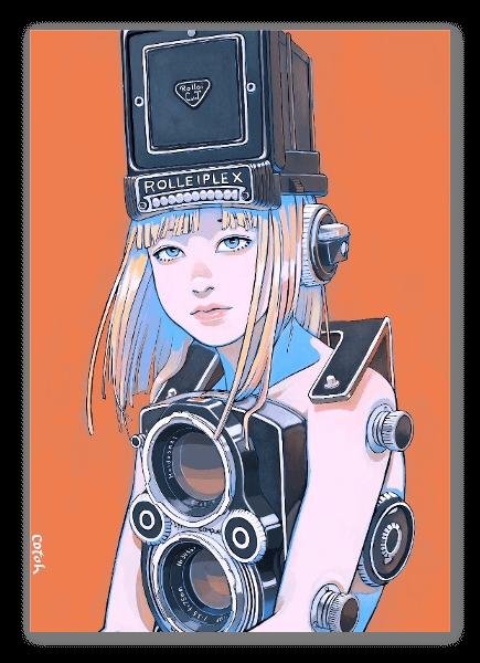 Kameratyttö tarra