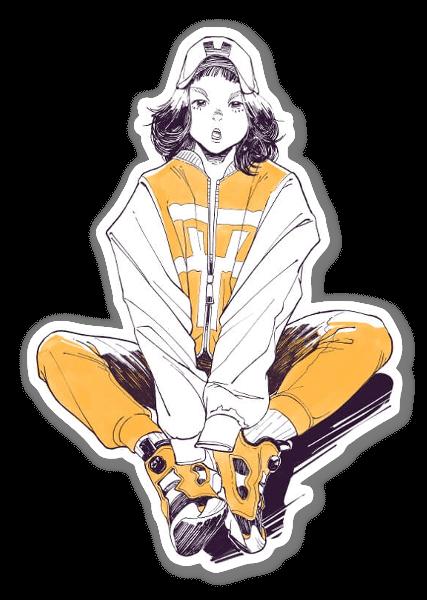 Keltainen puku tarra