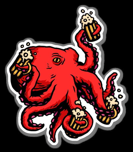 Durstiger Octopus sticker