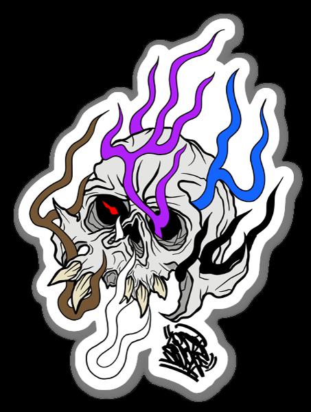 Flaming Skull BJJ Colours sticker