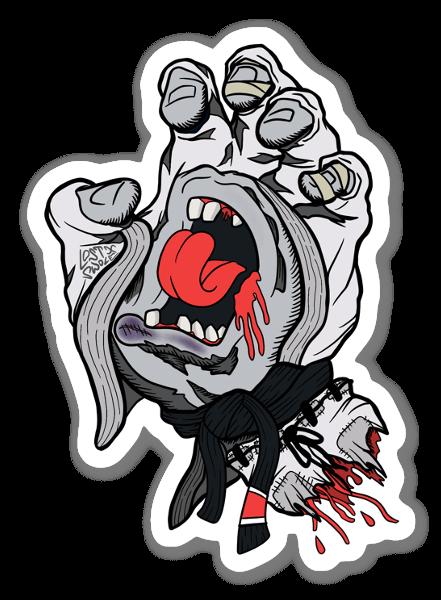 BJJ Screaming Hand White Gi sticker