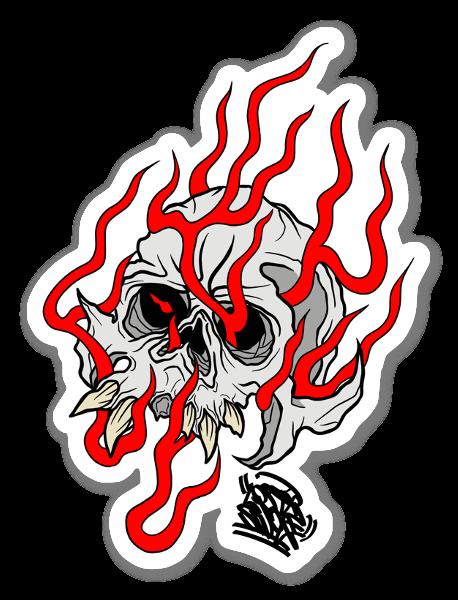 Flaming Skull Red sticker
