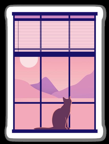 窓際に座って考える猫 ステッカー