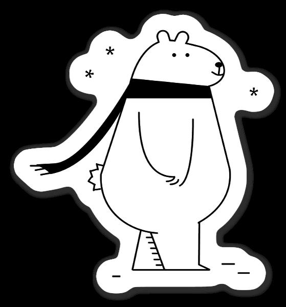 冬のホッキョクグマ。 ステッカー