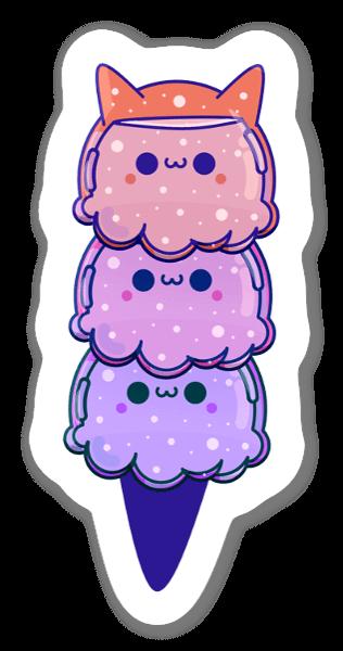 キャットアイスクリーム ステッカー