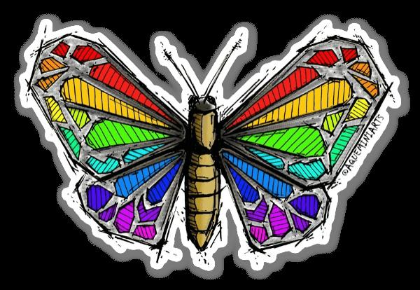 Regnsbågsfjäril sticker