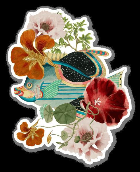 Fisk & Blommor sticker