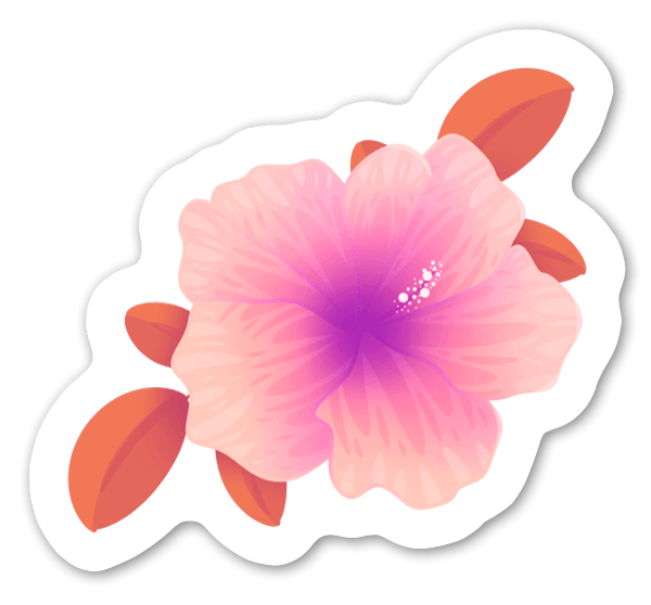 Ljusrosa Hibiskus sticker