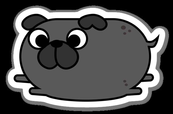 豆の形をしたアニメのパグ。 ステッカー