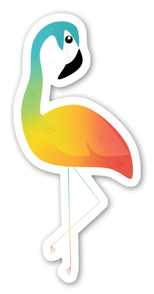 Värikäs flamingo tarra