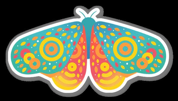 Tęczowy motyl naklejka