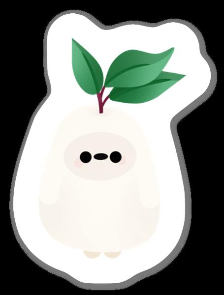 Valkoinen kasviolio tarra